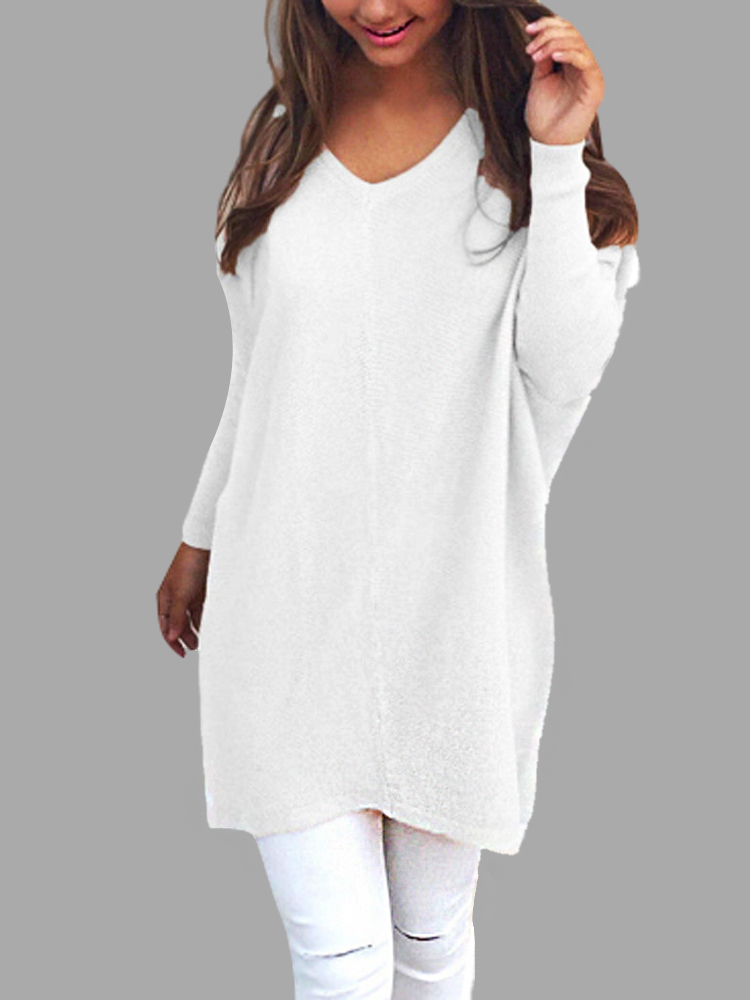 White Casual Knit Long Sleeves V-neck Sweater