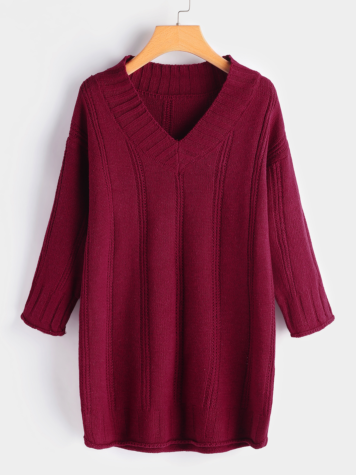 Burgundy V-neck Long Sleeves Casual Sweaters