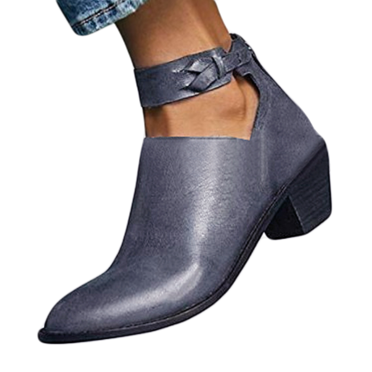 Dark Grey Vintage Chunky Heel Boots Cutout Ankle Strap Boots