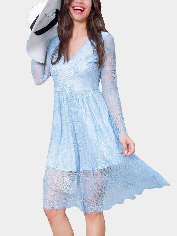 Sky Blue V-neck Long Sleeves High Waisted Tiered Lace Dress