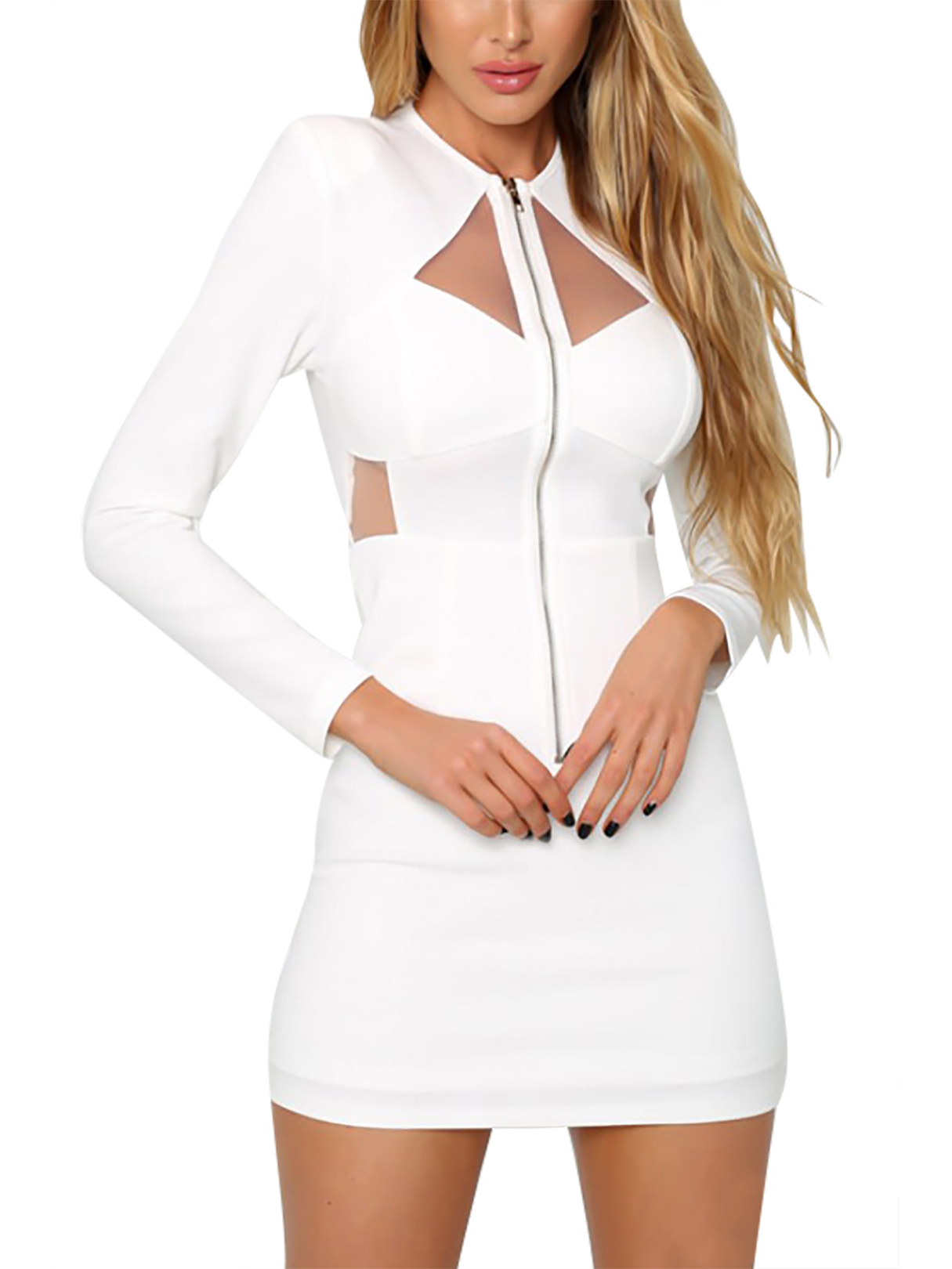 Long Sleeves Crew Neck Mini Party Dress with Cut Out Details