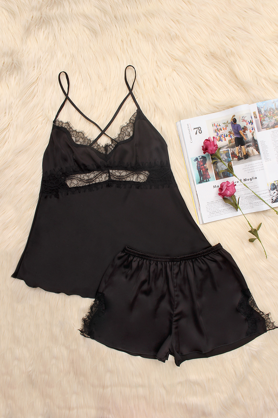 Black Hollow Out Lace Trim V-neck Crossed Slip Pajamas
