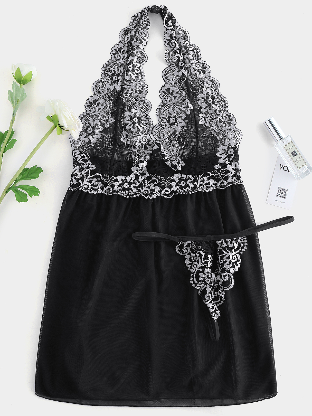 Plus Size Black Lace Trim Halter Babydoll With T-Back