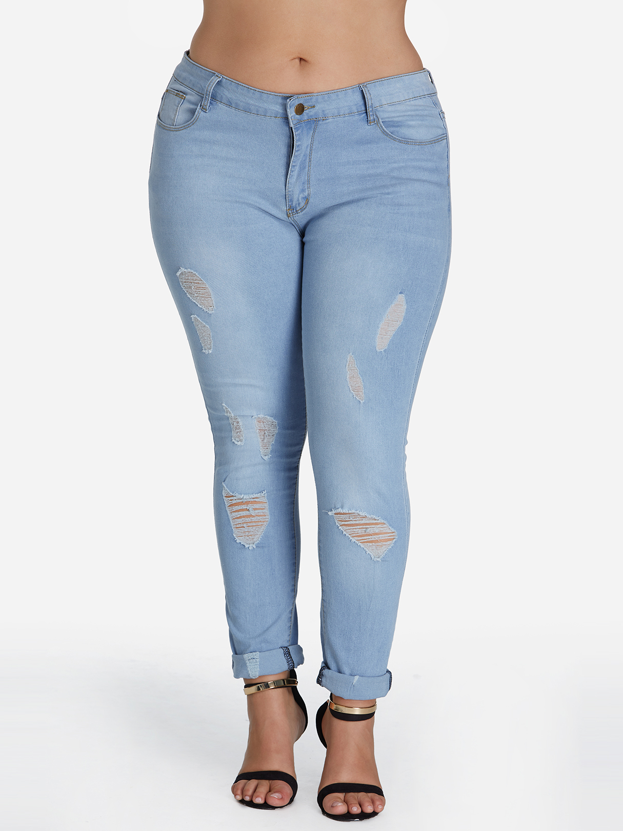 Plus Size Sky Blue Ripped Jeans