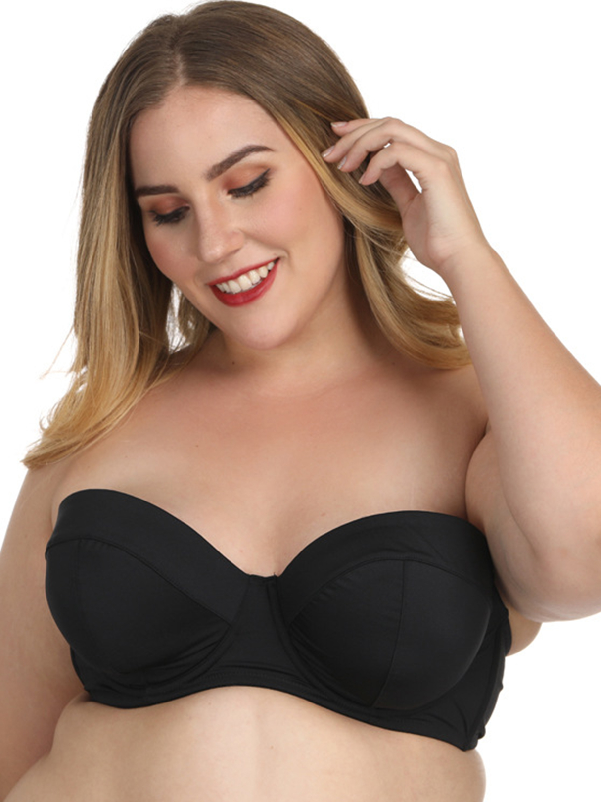 Black Strapless Wire Bra With Detachable Straps