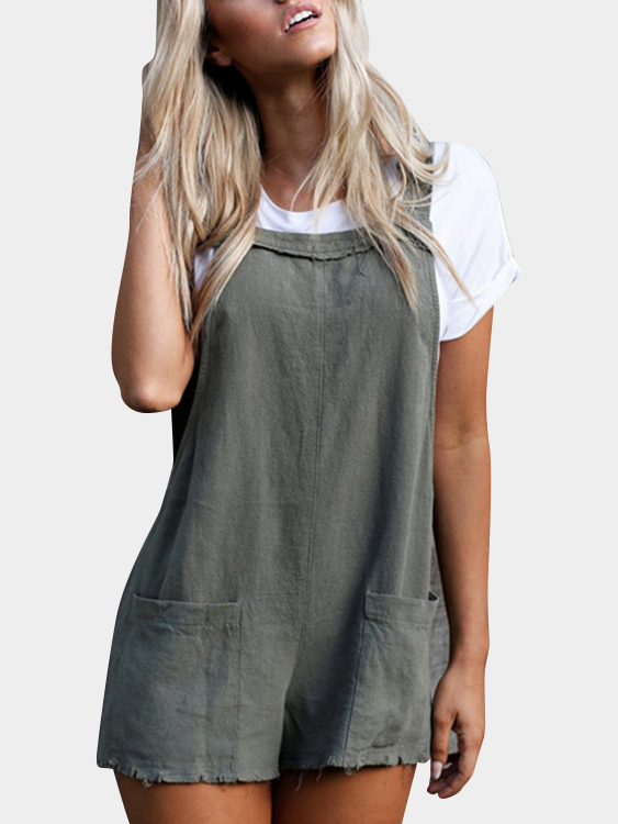 Grey Spaghetti Backless Playsuits with Two Large Pockets