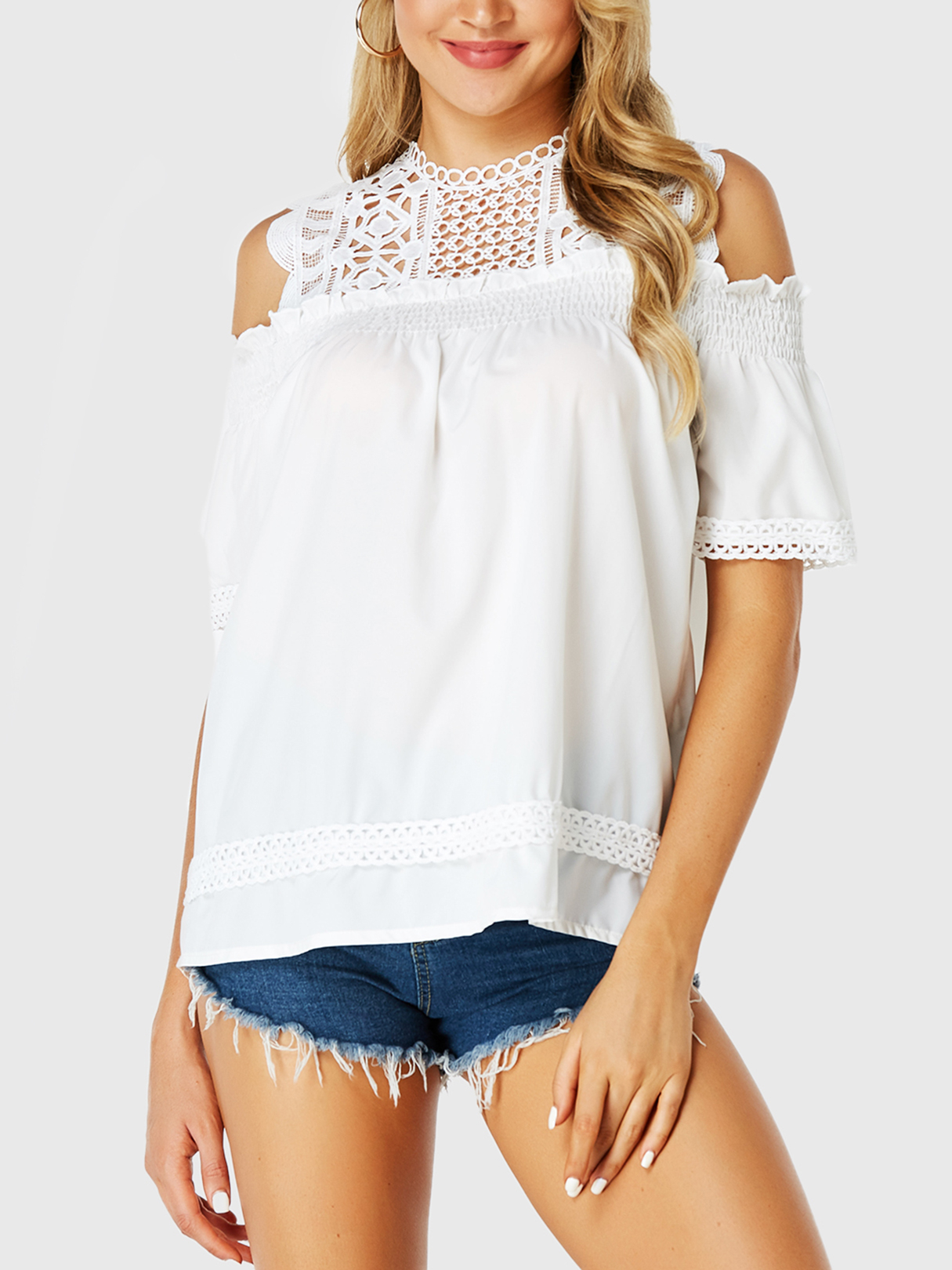 White Lace Insert Cold Shoulder Elastic Sleeves Blouse
