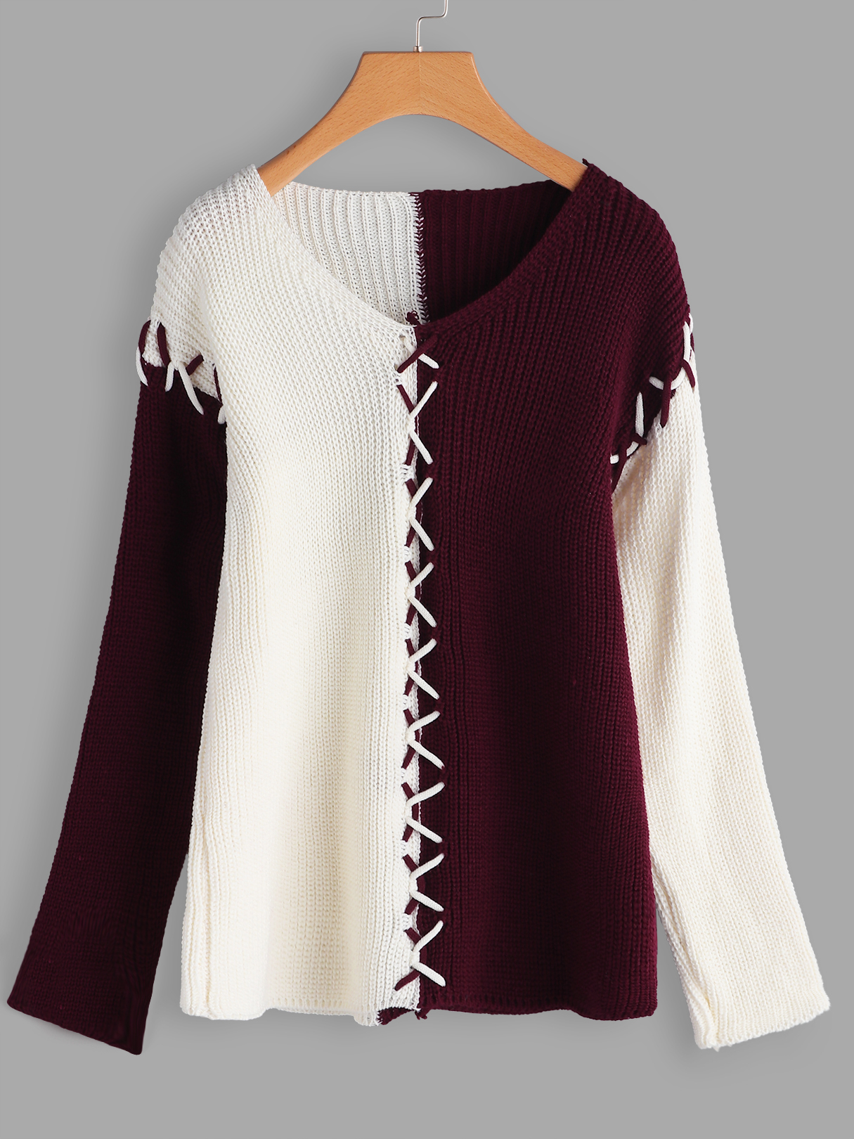 Burgundy Stitching Design V-neck Long Sleeves Color Block Sweaters