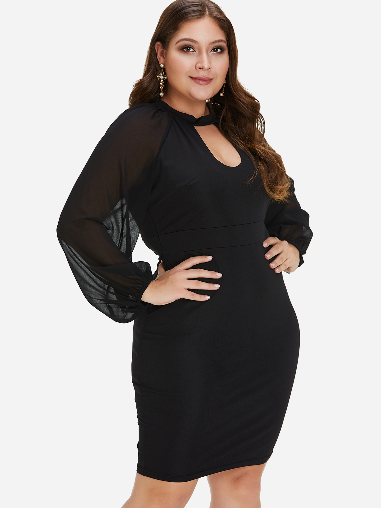 Plus Size Black Cut Out Lantern Sleeves Mini Dress