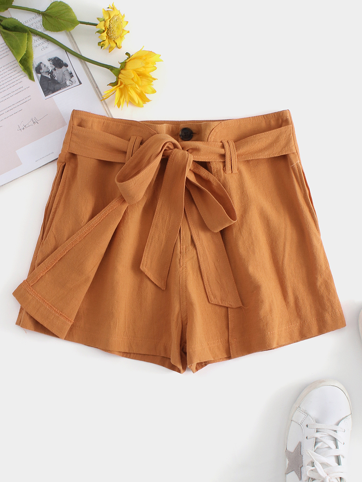 Orange Self-tie Design Plain Loose Waist Shorts