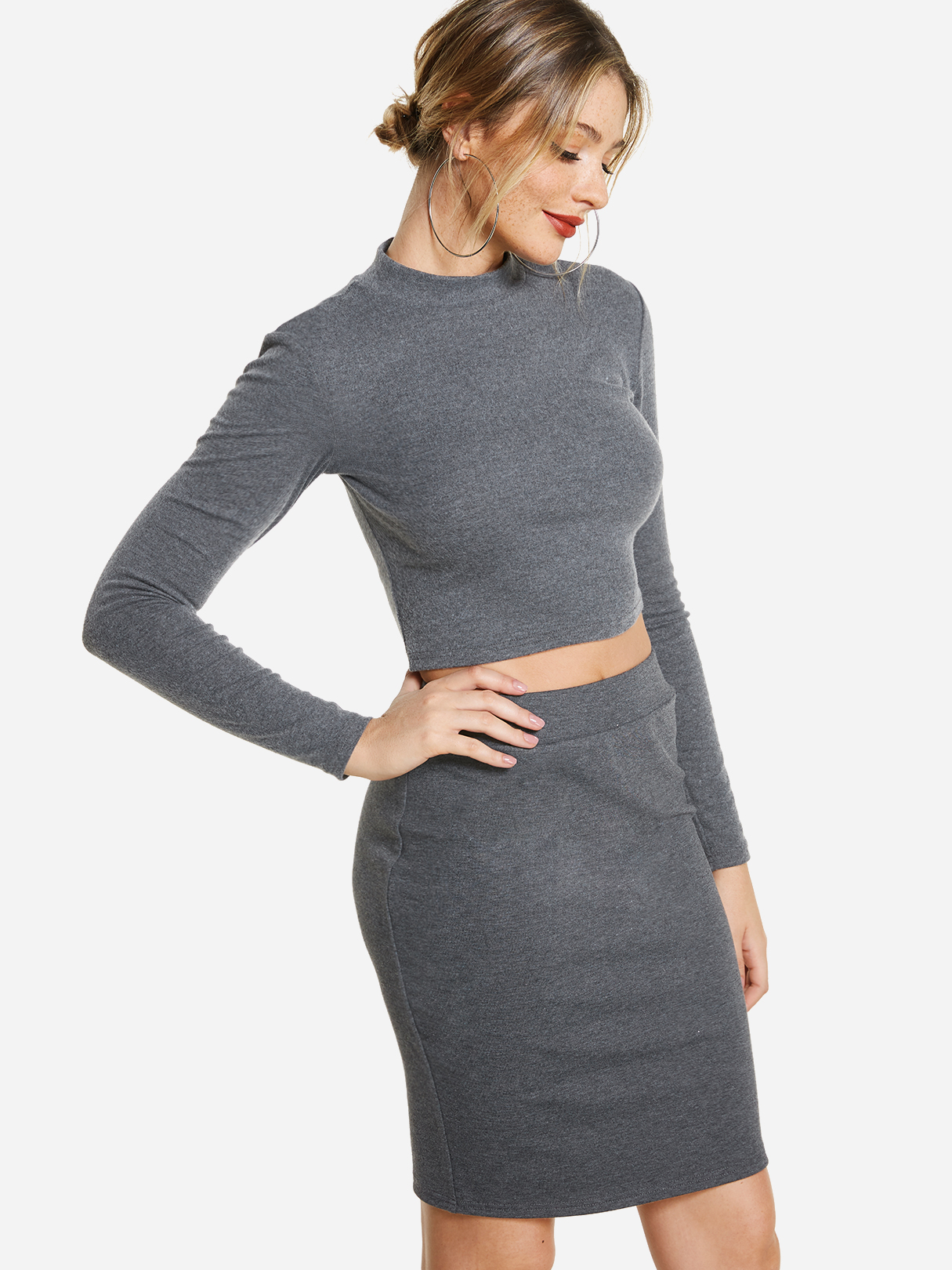 Grey Plain Perkins Collar Long Sleeves Bodycon Fit Top