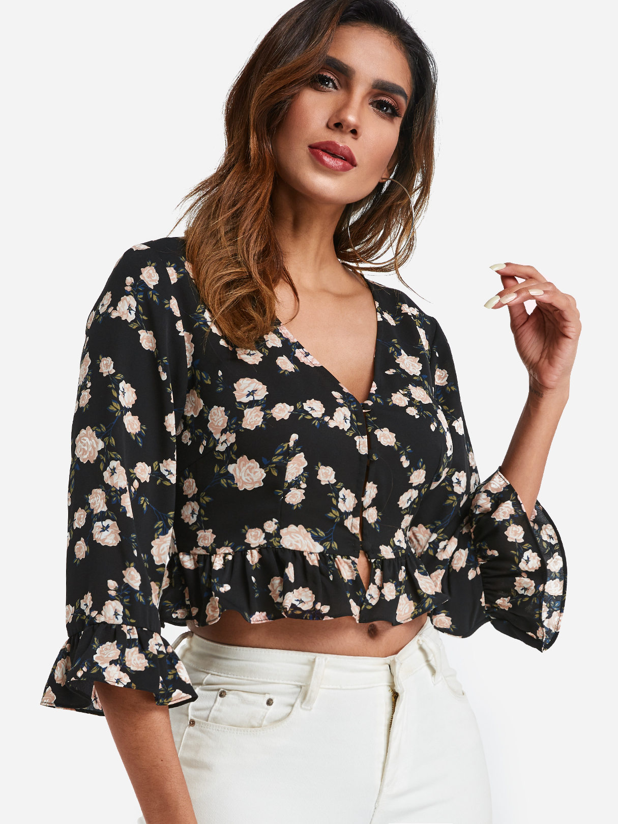 Black Random Floral Print Single Breasted 3/4 Length Sleeves Flounced Hem Blouse