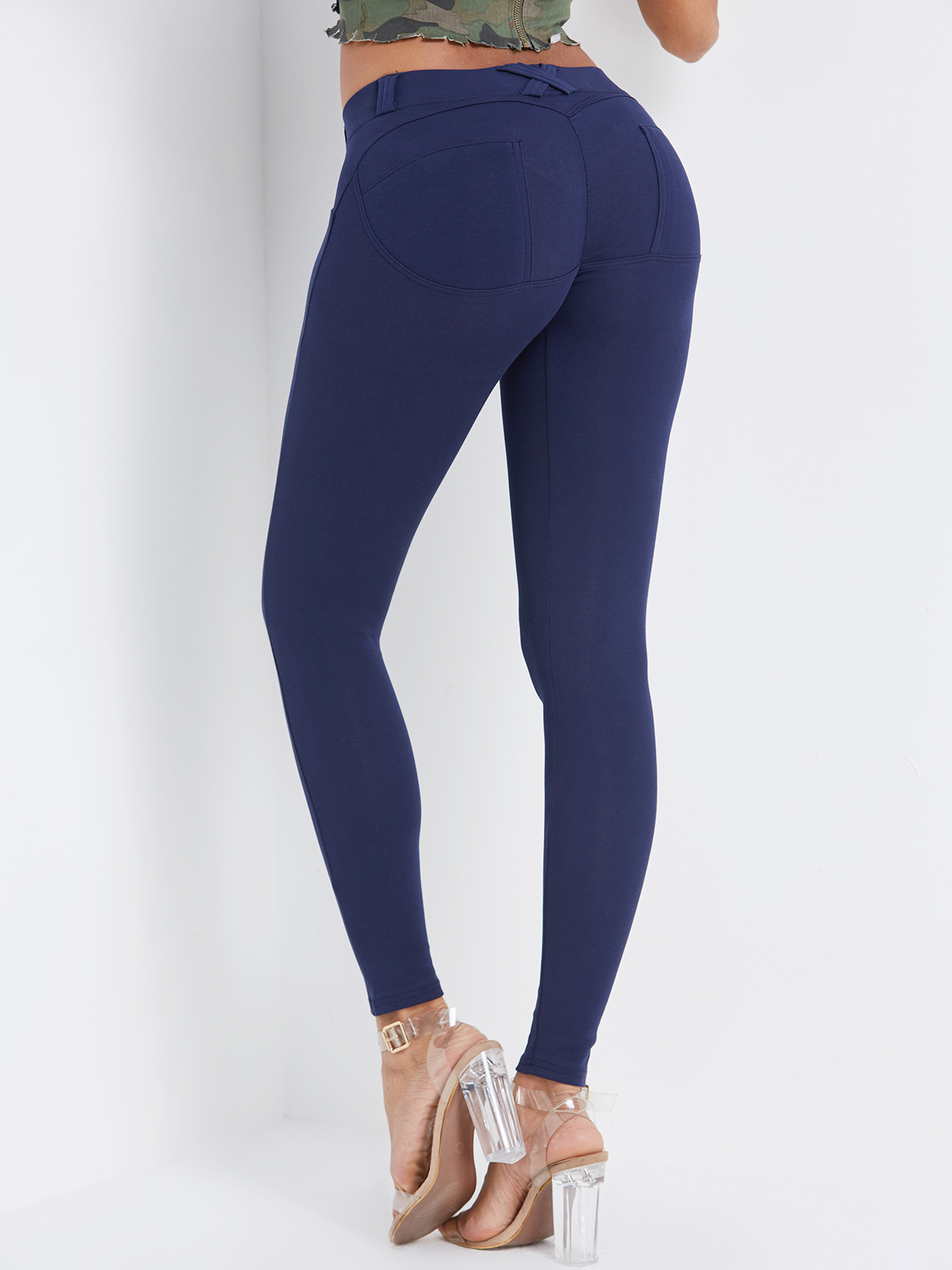 Blue Side Pockets Fashion Bodycon Leggings