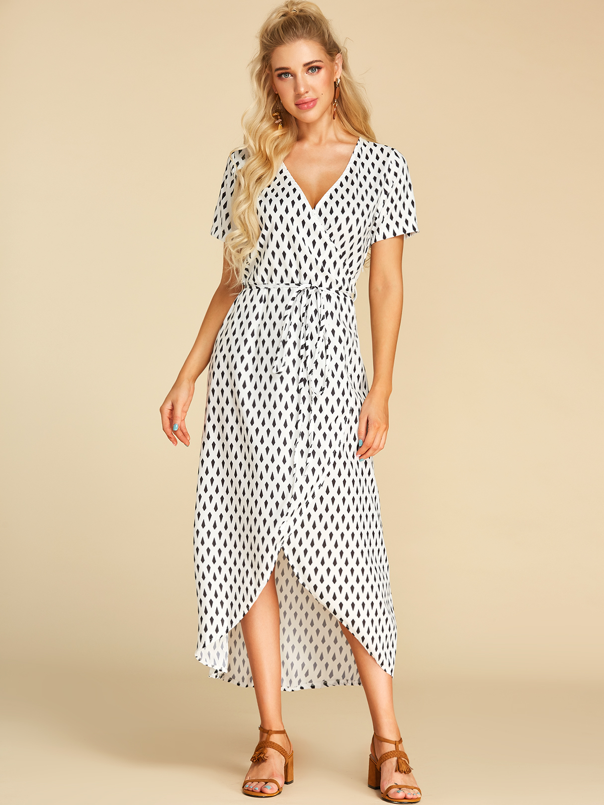 White Lace-up Design Polka Dot V-neck Short Sleeves Dress ROBES Blanc  xs|s|m|l Yoins