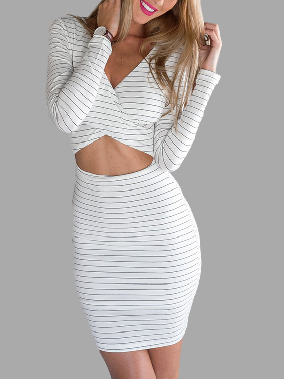 Sexy V Neck Cross Front Midriff-baring Stripe Party Dress