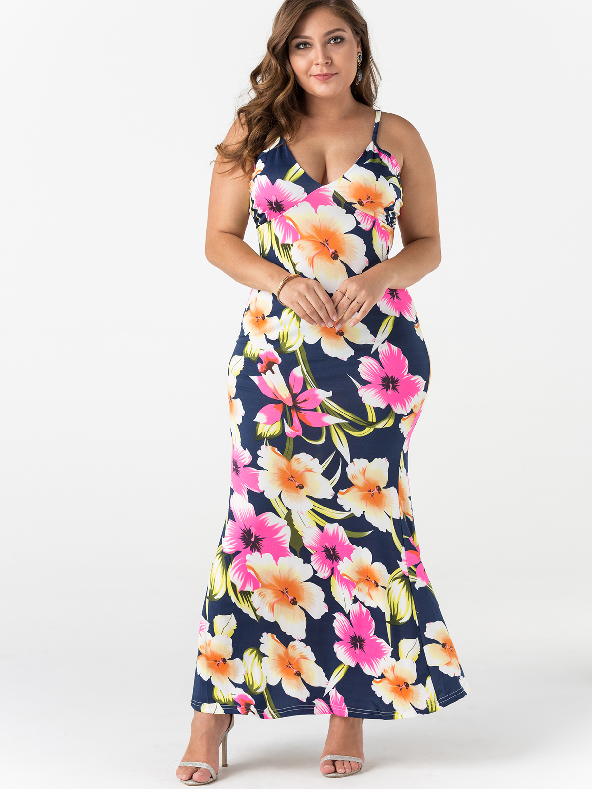 Plus Size Random Floral Print Sleeveless Maxi Dress