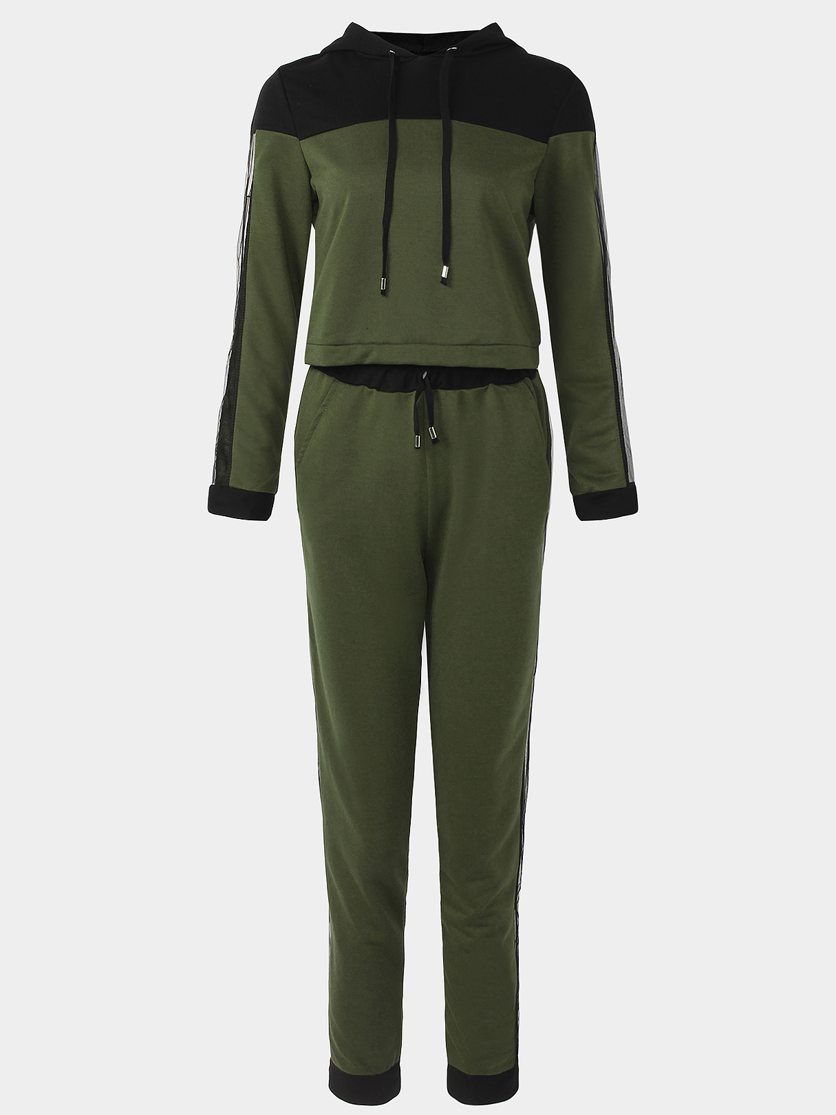 Active Net Yarn Hooded Design Tracksuit in Green