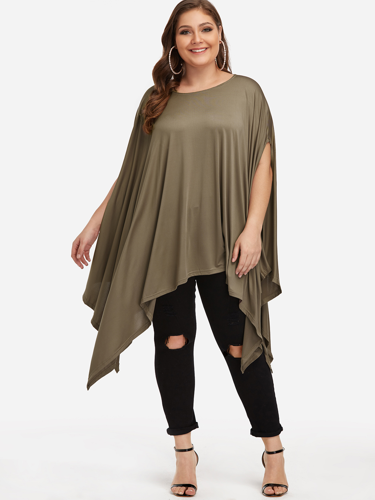 Plus Size Army Green Bat Sleeves Blouse
