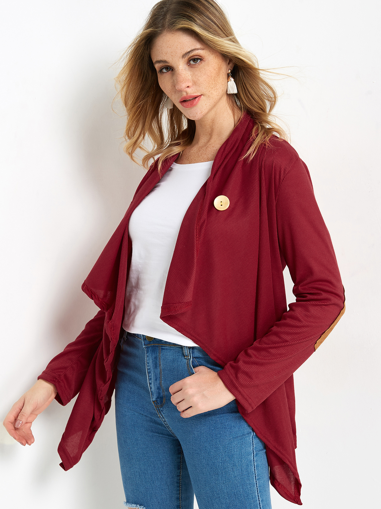 Burgundy Button Crossed Front Design Patch On Elbow Long Sleeves  Irregular Hem Coat