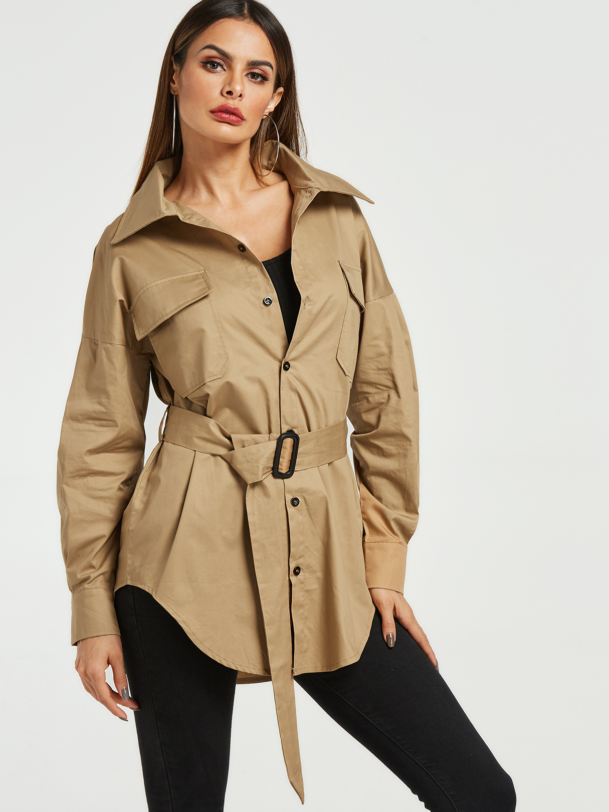 Khaki Pocket Design Lapel Collar Trench Coat