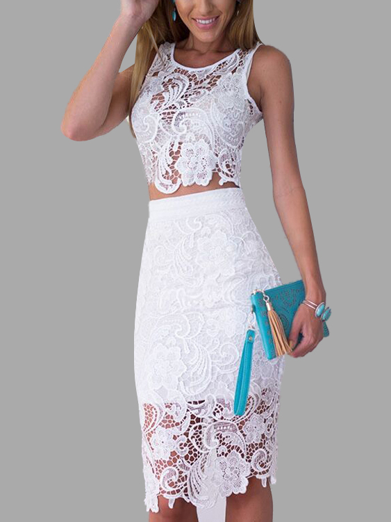 2ba4bdaae2d White Sexy Lace Crop Top & Midi Skirt Co-ord - US$25.95 -YOINS