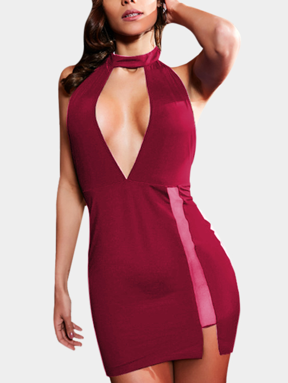 Burgundy Backless Design Halter Sleeveless Dresses