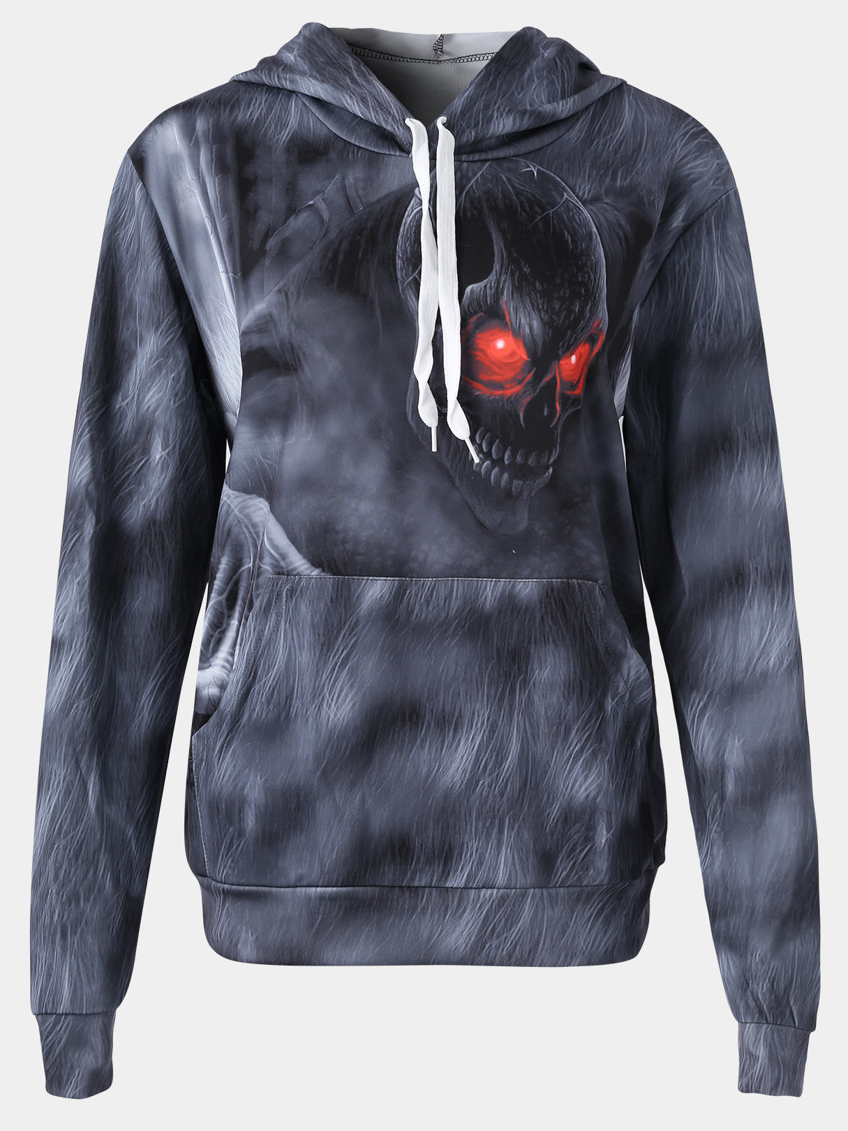 Active Halloween Floral Print Side Pockets Sports Hoodies in Grey