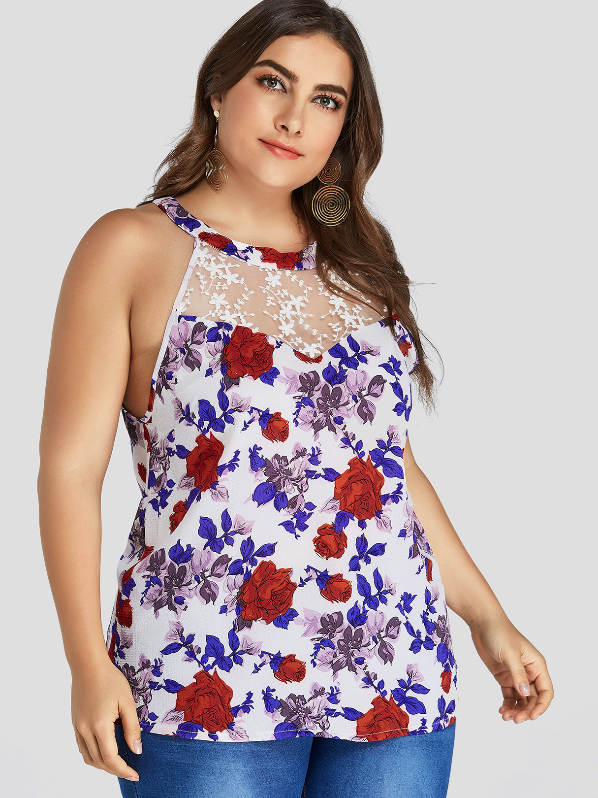 Plus Size White Floral Lace Insert Tank Top, Multi