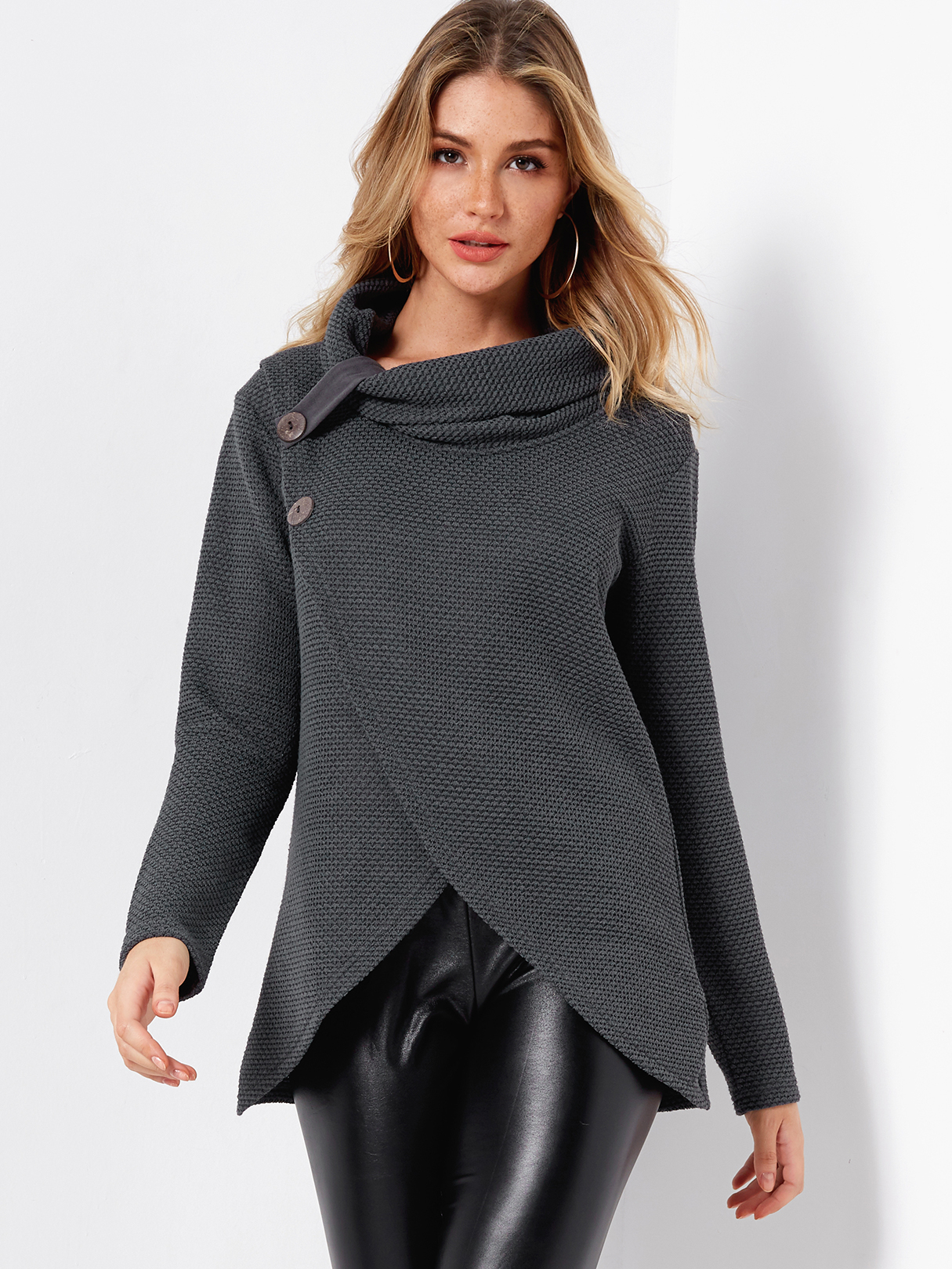 Grey Fashion Crossed Front Design Turtleneck Long Sleeves Irregular Hem Sweaters