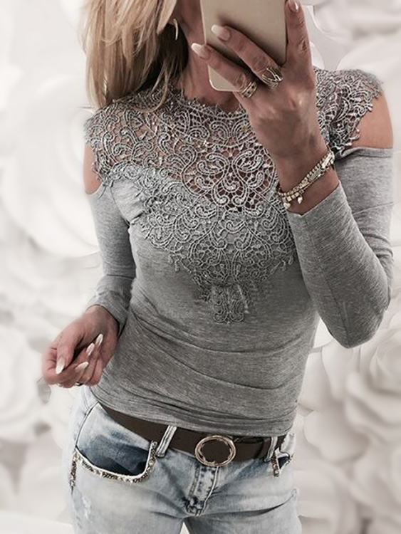 Grey Lace Insert Cold Shoulder Long Sleeves Sexy T-shirt YOINS