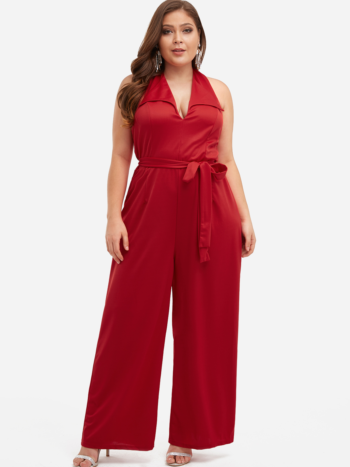 Plus Size Red Backless Self-tie Halter Wide Leg Jumpsuit