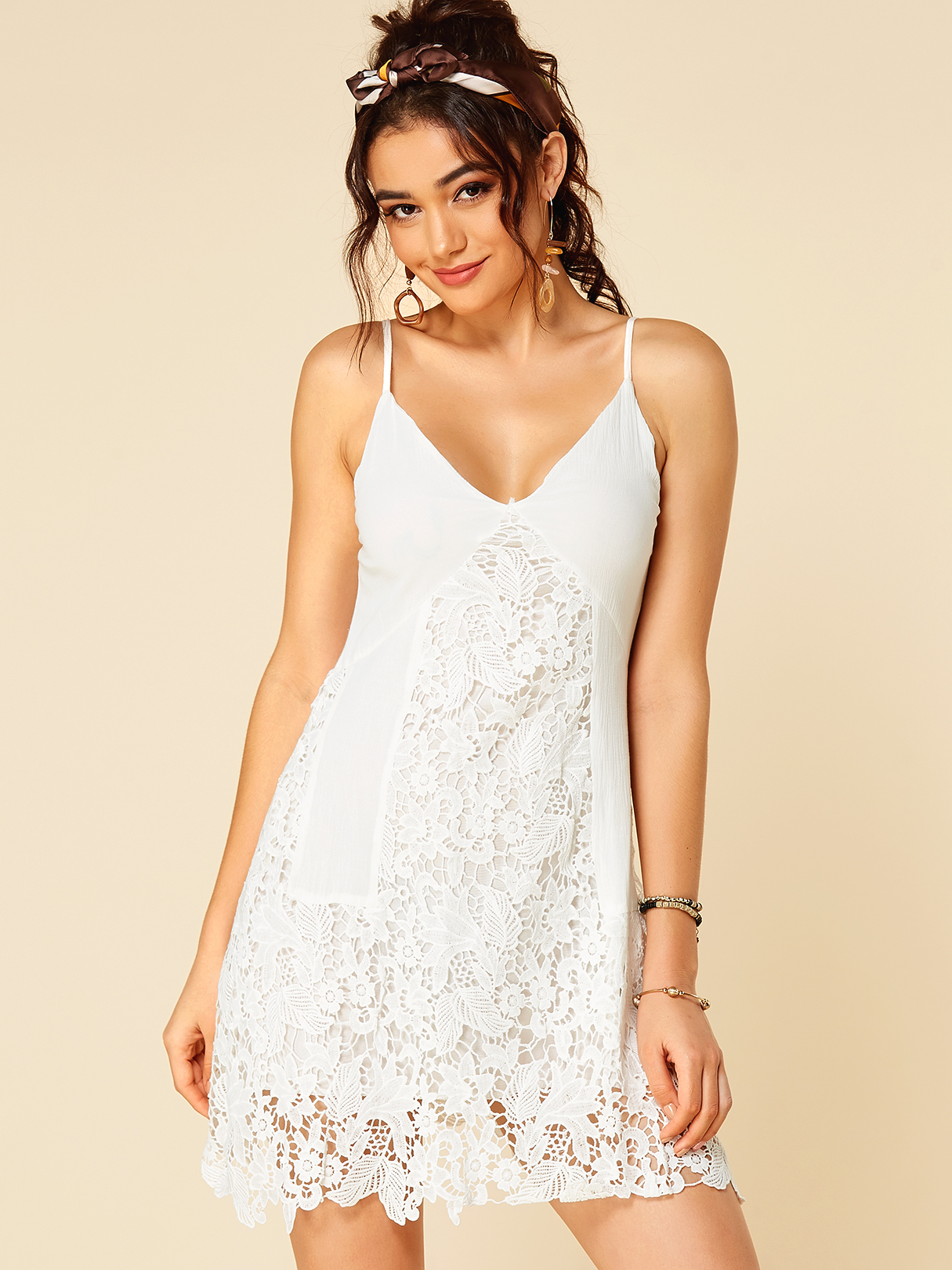 White Lace Insert V Neck Mini Dress With Adjustable Shoulder Straps