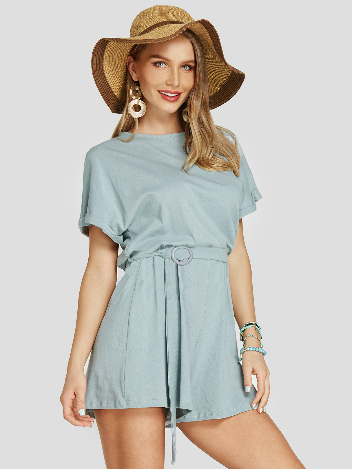 Light Blue Belt Design Round Neck Short Sleeves Playsuits