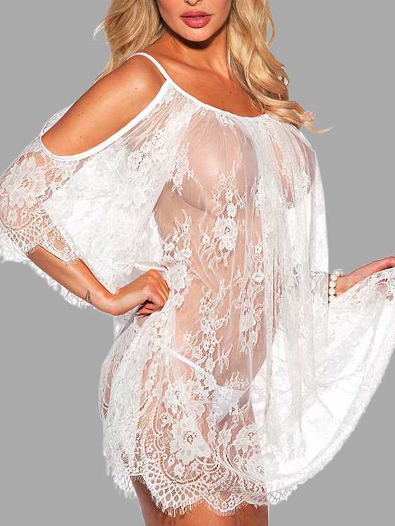 White Scoop Neck See-through Lace Babydoll with T-thong