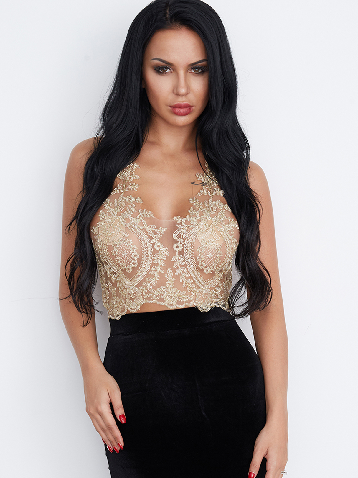 Gold Sexy Gold Thread Embroidery Hollow Out Lace Crop Top
