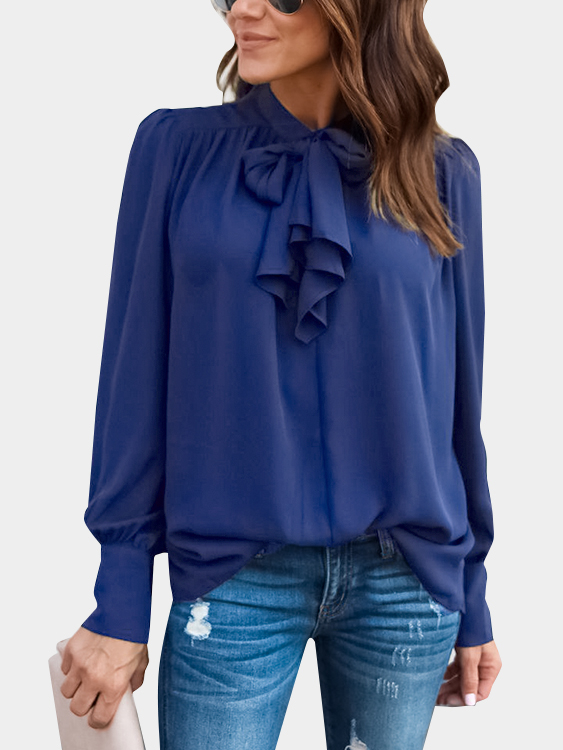 Blue Lace-up Design Long Sleeves Top