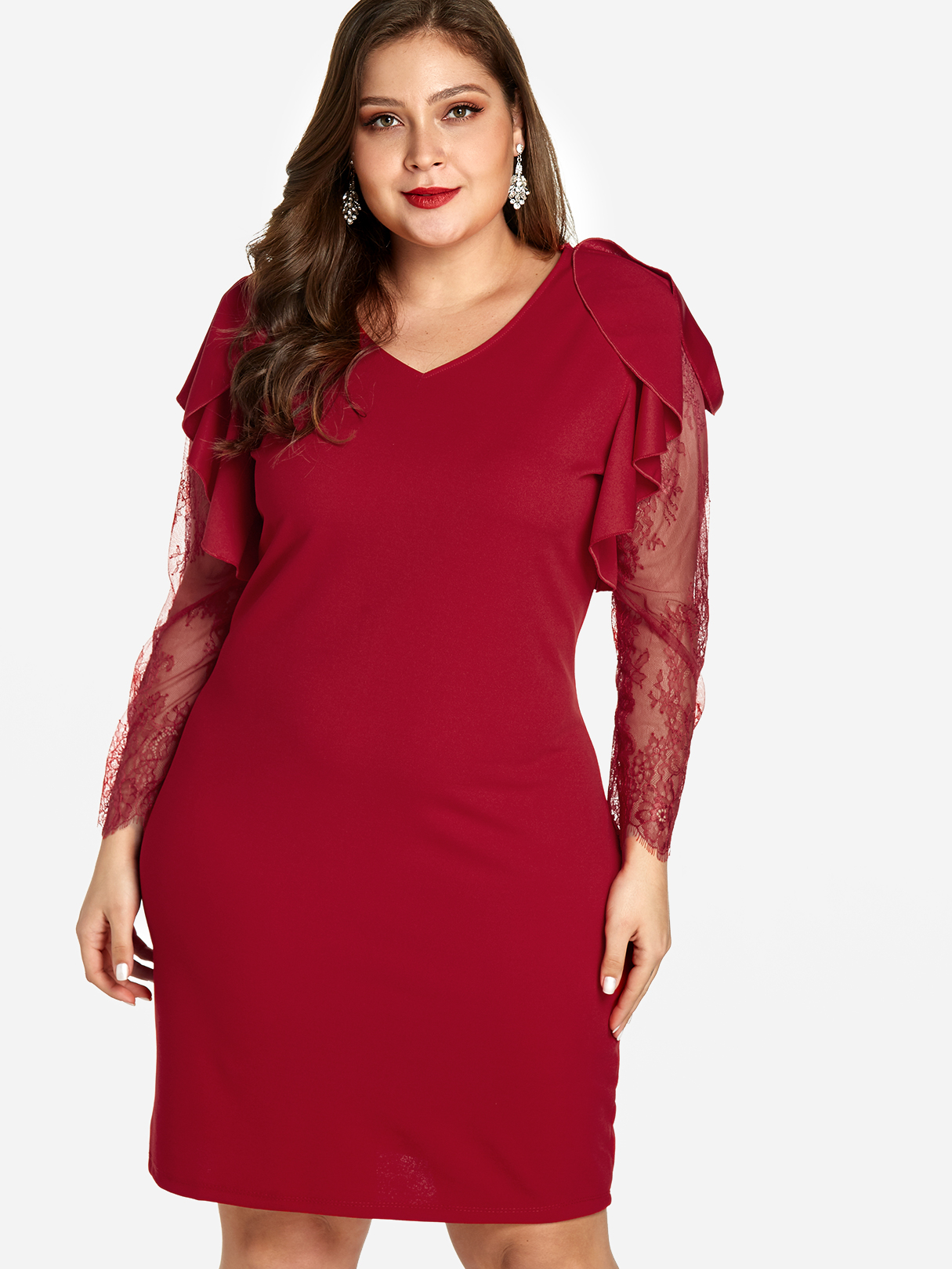 Plus Size Red Lace Sleeves Midi Dress
