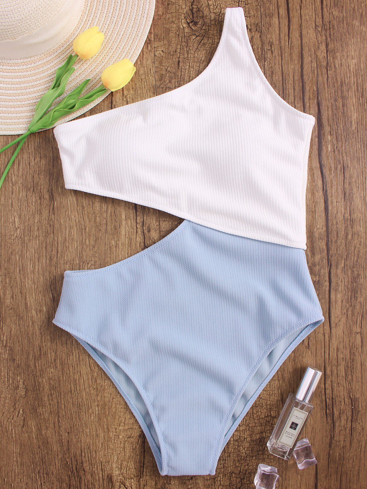 White and Blue One Shoulder Cut Out High Waist Swimsuit