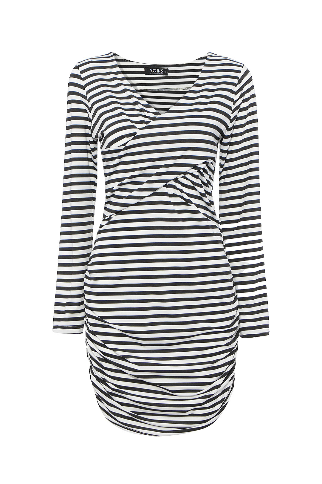 Bodycon Plunge Dress in Stripe with Long Sleeve