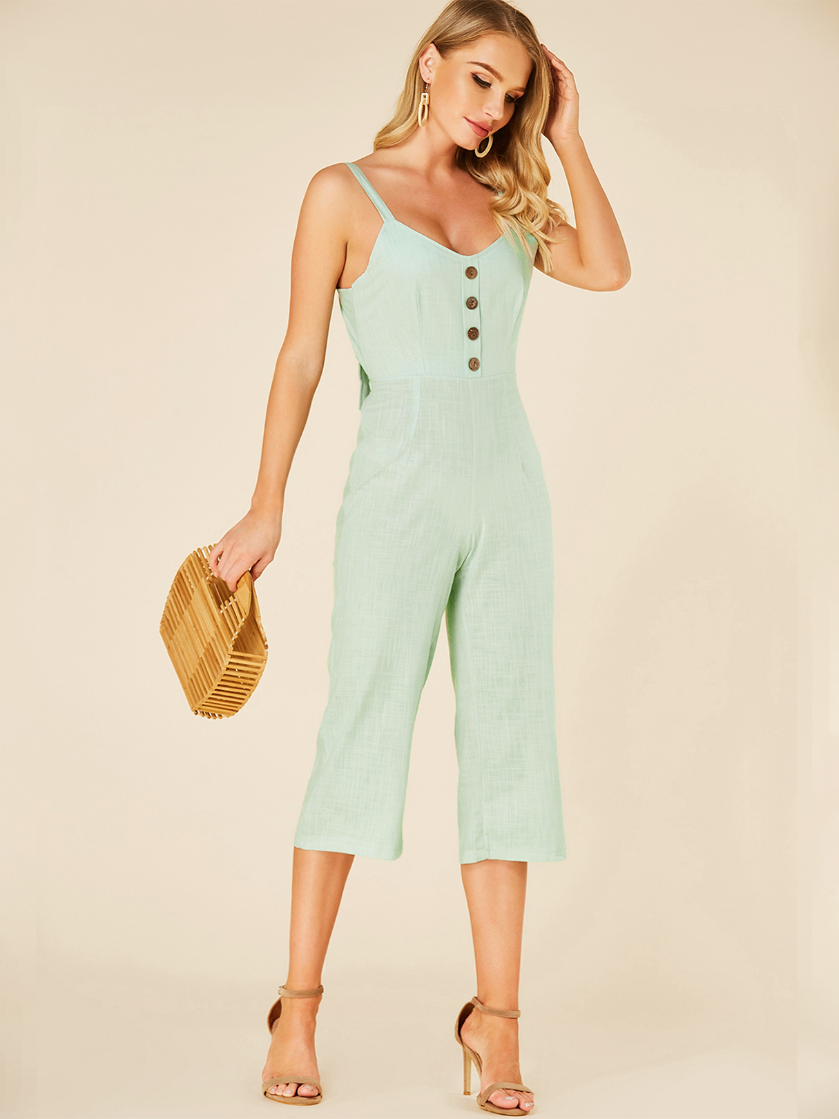 Mint Green Backless Design Deep V Neck Sleeveless Jumpsuit