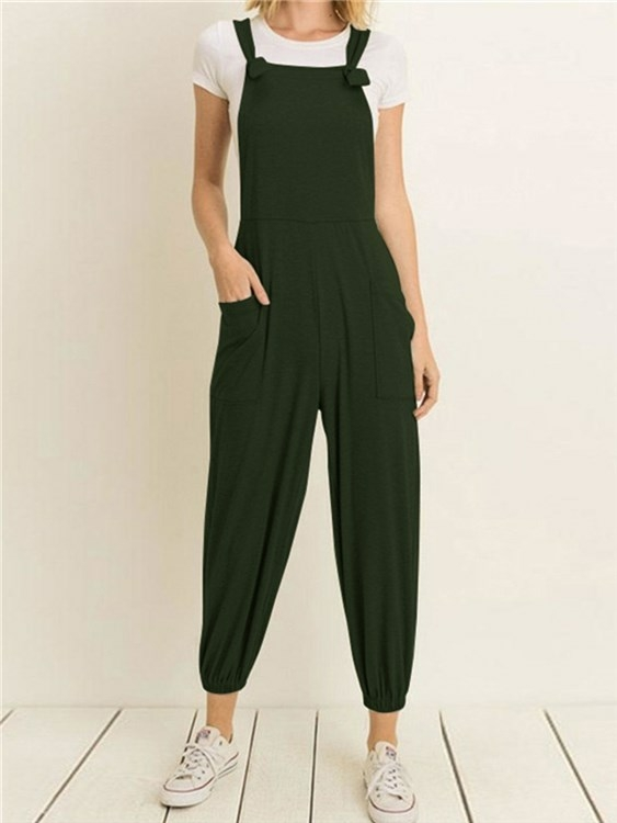 Pockets Design Pleated Jumpsuit