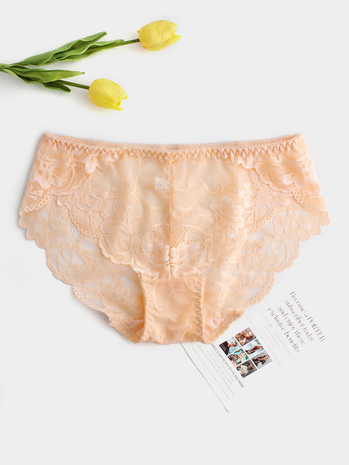 Plus Size Nude Floral Lace Crotchless Panty