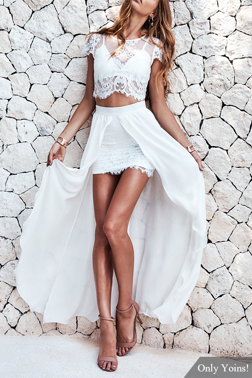 White Crew Neck Top and High Low Skirt Lace Co-ord