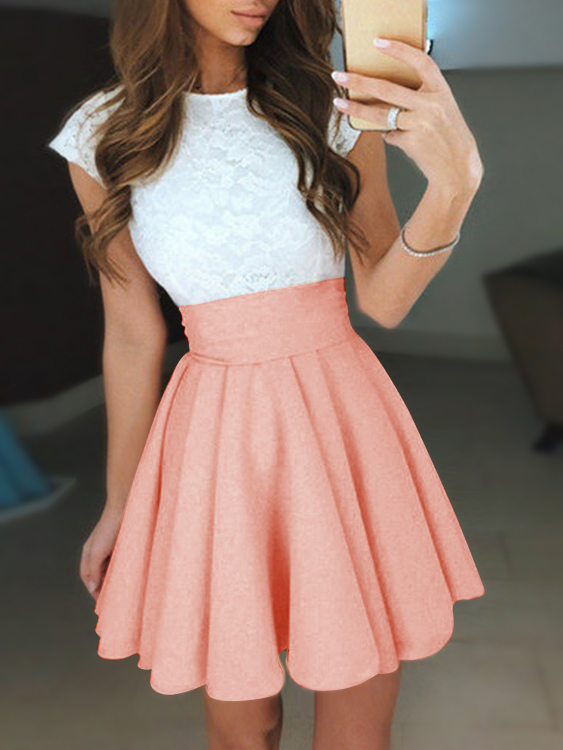 Orange Lace Insert Crew Neck Swing Mini Dresses