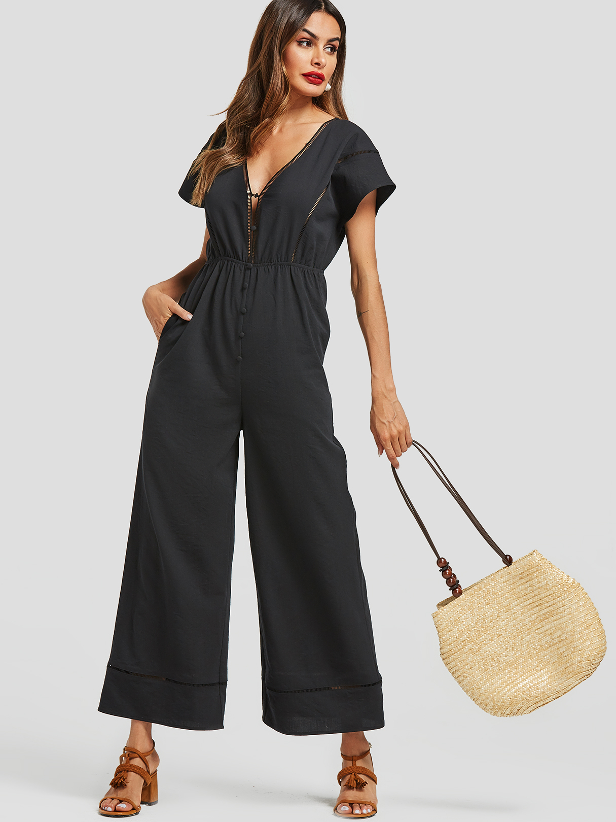 Black Backless Design High-waisted Wide Leg Jumpsuit
