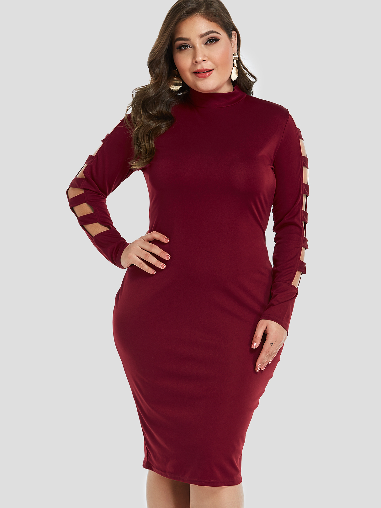 Plus Size Burgundy Cut Out Bodycon Midi Dress