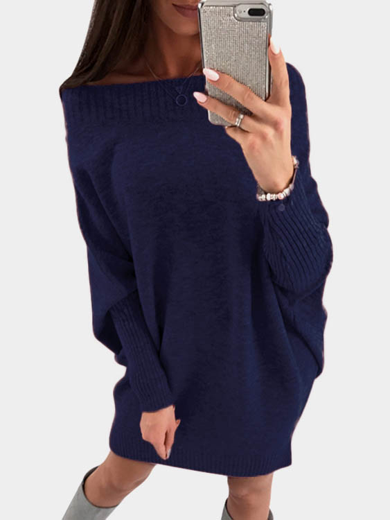 Aquamarine Pullover Long Sleeves Sweater Dress