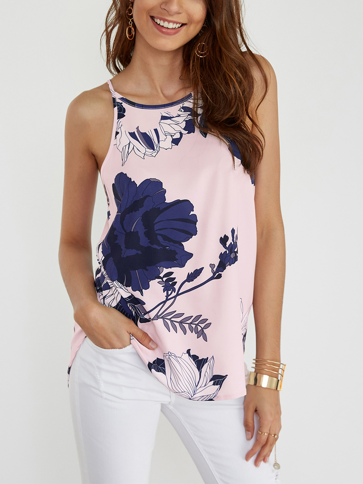 Light Pink Random Floral Print Halter Design Cami Top, Multi
