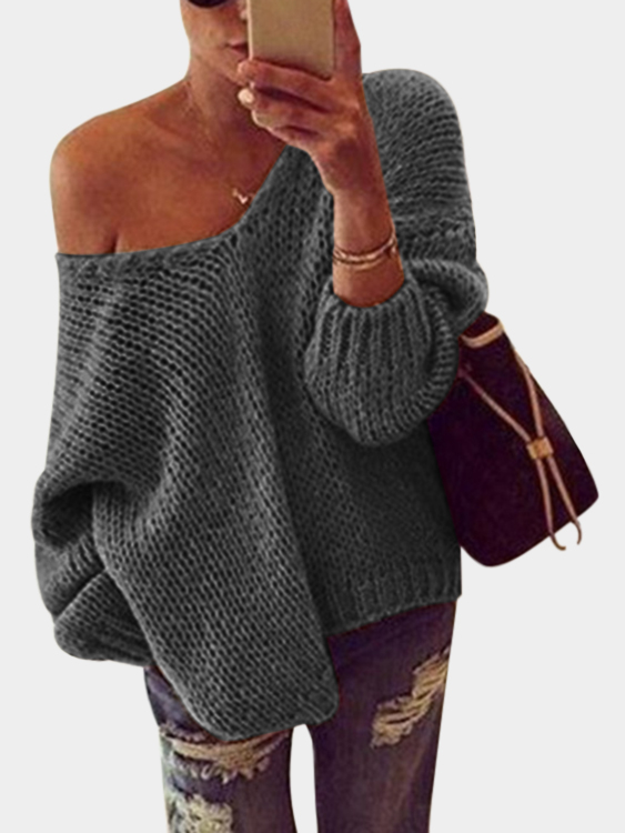 Grey V-neck Long Sleeves Pullover Sweater