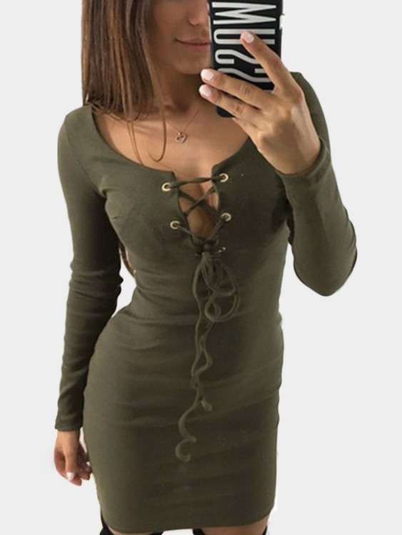 Army Green Lace-up Design V-neck Long Sleeves Mini Dress